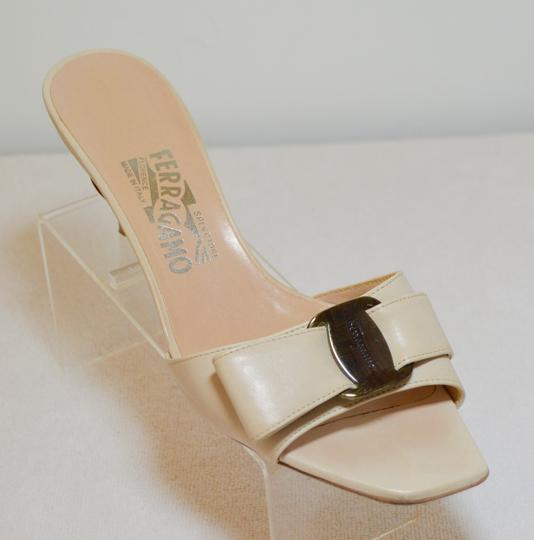 Salvatore Ferragamo Low Heel All Leather Never Out Of Style. Cream Sandals Image 2