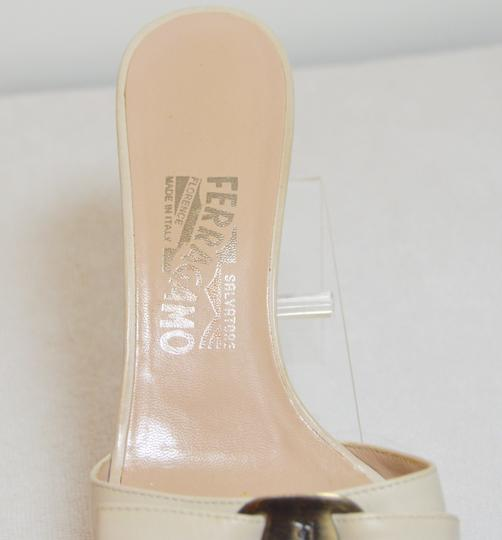 Salvatore Ferragamo Low Heel All Leather Never Out Of Style. Cream Sandals Image 4