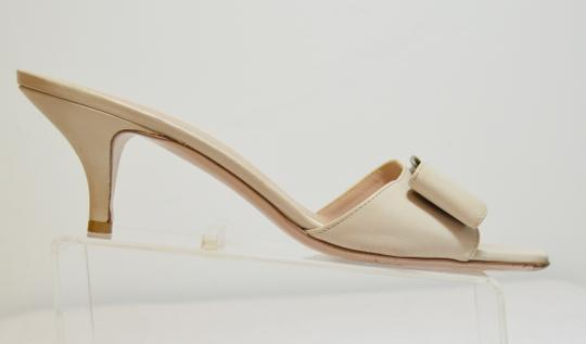 Salvatore Ferragamo Low Heel All Leather Never Out Of Style. Cream Sandals Image 5