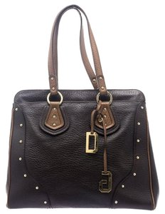 Dolce&Gabbana Leather Fabric Studded Tote in Brown