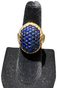 Other Honeycomb sapphire and brilliant and baguette diamond halo