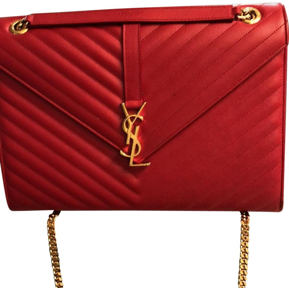 f06ebbb9f2f Saint Laurent Matelasse Envelope Chain Red Leather Shoulder Bag ...