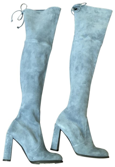 Item - Denim Blue Hiline Thigh High Boots/Booties Size US 7.5 Regular (M, B)