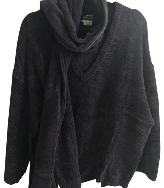 Item - Velour Oversized with Matching Scarf Aubergine Sweater