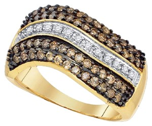 Jewelry Unlimited Ladies 10K White and Cognac Brown Real Diamond Band Ring 1.0 Ct