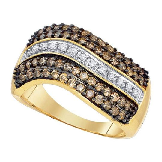 Jewelry Unlimited Ladies 10K White and Cognac Brown Real Diamond Band Ring 1.0 Ct Image 2