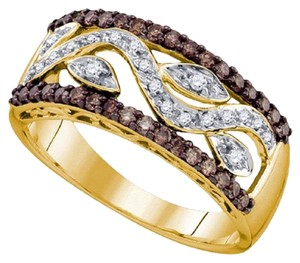 Jewelry Unlimited Ladies 10k White and Cognac Brown Real Diamond Band 0.50 Ct