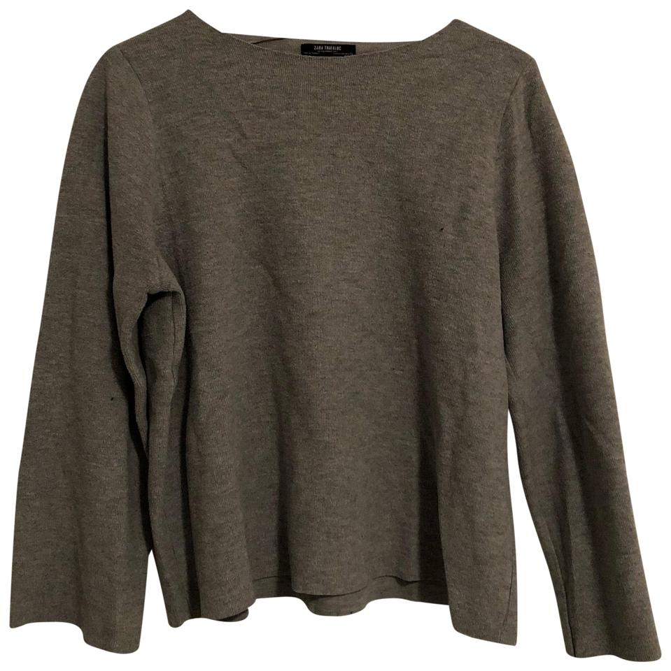 c2a32951 Zara Flare Sleeve Knit Gray Sweater - Tradesy