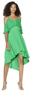 Halston Cold Shoulder Ruffled High Low Dress