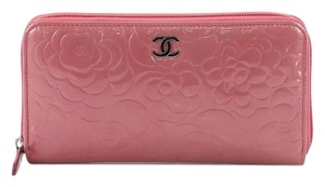 Chanel Zip Around Wallet Camellia Patent