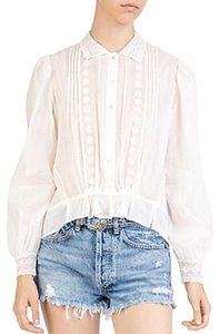 The Kooples Embroidery Lace Linen Top White