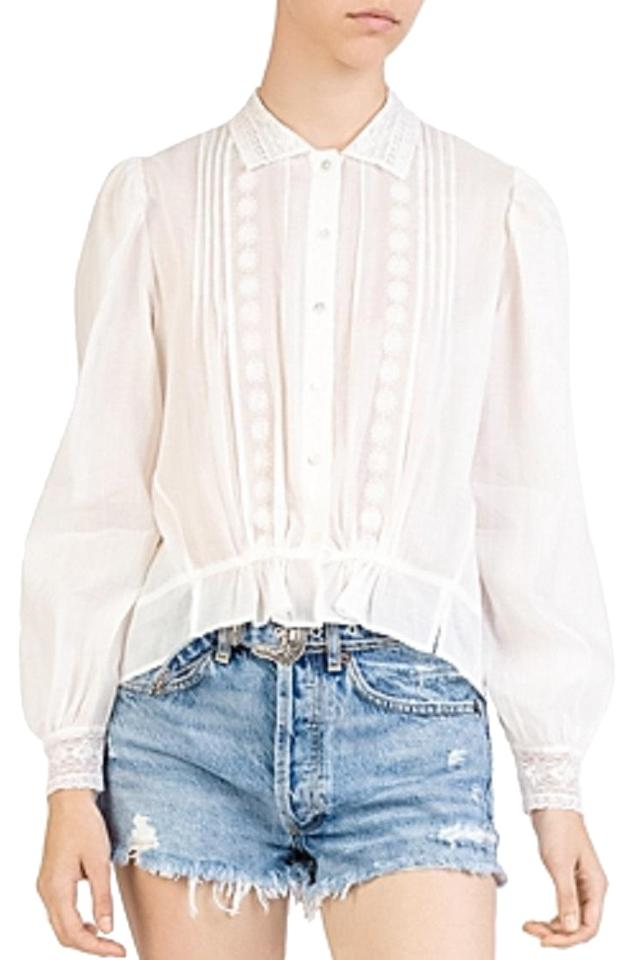 ff19db2c543 The Kooples White Fcc 1600 Cotton & Lace Embroidery Blouse Size 6 (S ...