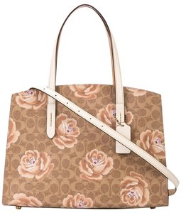 Coach Coated Canvas Calf Leather Satchel in CHALK/TAN