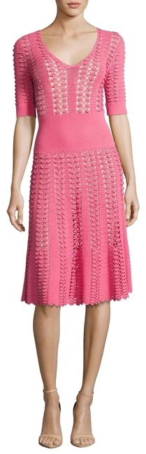 Michael Kors Collection Pink Fluted Crocheted Mid-length Casual Maxi Dress Size 12 (L) Michael Kors Collection Pink Fluted Crocheted Mid-length Casual Maxi Dress Size 12 (L) Image 1