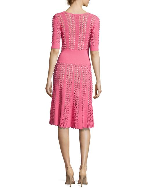 Michael Kors Collection Pink Fluted Crocheted Mid-length Casual Maxi Dress Size 12 (L) Michael Kors Collection Pink Fluted Crocheted Mid-length Casual Maxi Dress Size 12 (L) Image 2