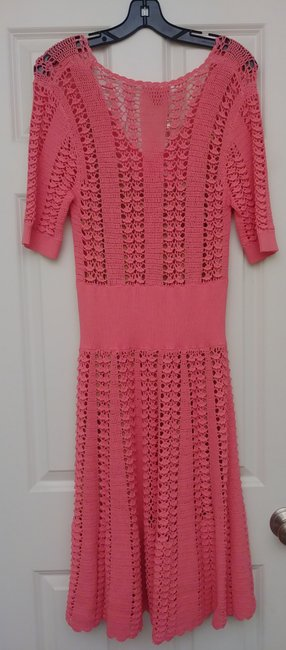 Michael Kors Collection Pink Fluted Crocheted Mid-length Casual Maxi Dress Size 12 (L) Michael Kors Collection Pink Fluted Crocheted Mid-length Casual Maxi Dress Size 12 (L) Image 11