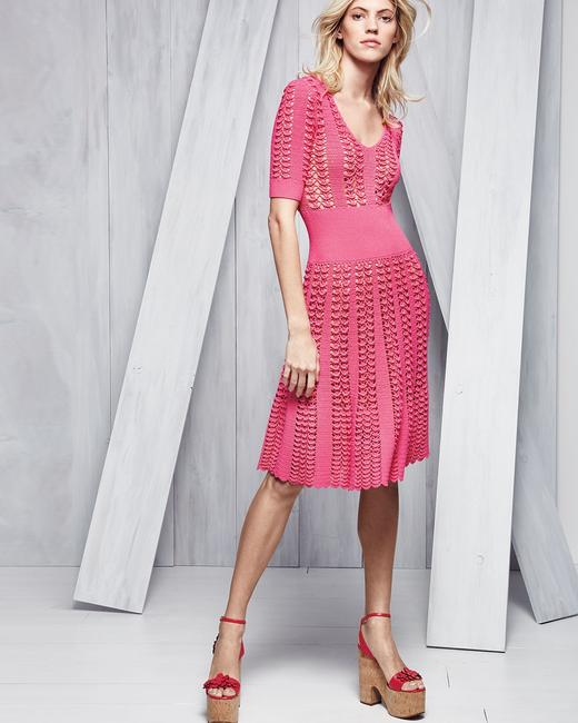 Michael Kors Collection Pink Fluted Crocheted Mid-length Casual Maxi Dress Size 12 (L) Michael Kors Collection Pink Fluted Crocheted Mid-length Casual Maxi Dress Size 12 (L) Image 3