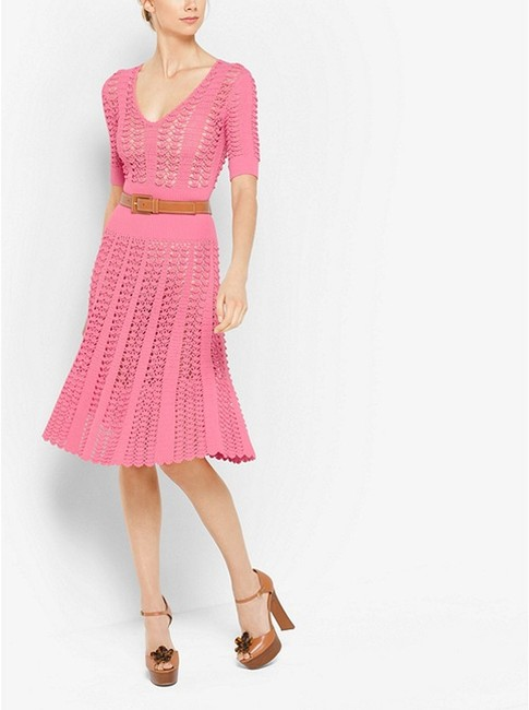 Michael Kors Collection Pink Fluted Crocheted Mid-length Casual Maxi Dress Size 12 (L) Michael Kors Collection Pink Fluted Crocheted Mid-length Casual Maxi Dress Size 12 (L) Image 4