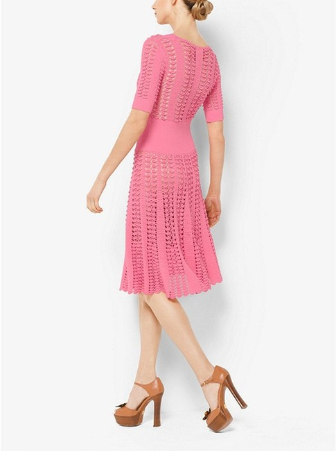 Michael Kors Collection Pink Fluted Crocheted Mid-length Casual Maxi Dress Size 12 (L) Michael Kors Collection Pink Fluted Crocheted Mid-length Casual Maxi Dress Size 12 (L) Image 5