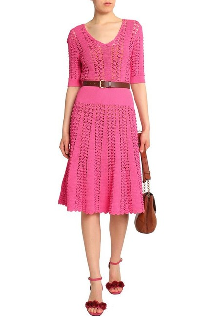 Michael Kors Collection Pink Fluted Crocheted Mid-length Casual Maxi Dress Size 12 (L) Michael Kors Collection Pink Fluted Crocheted Mid-length Casual Maxi Dress Size 12 (L) Image 6