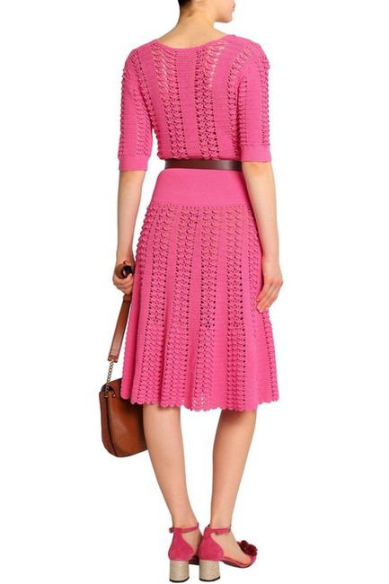 Michael Kors Collection Pink Fluted Crocheted Mid-length Casual Maxi Dress Size 12 (L) Michael Kors Collection Pink Fluted Crocheted Mid-length Casual Maxi Dress Size 12 (L) Image 7