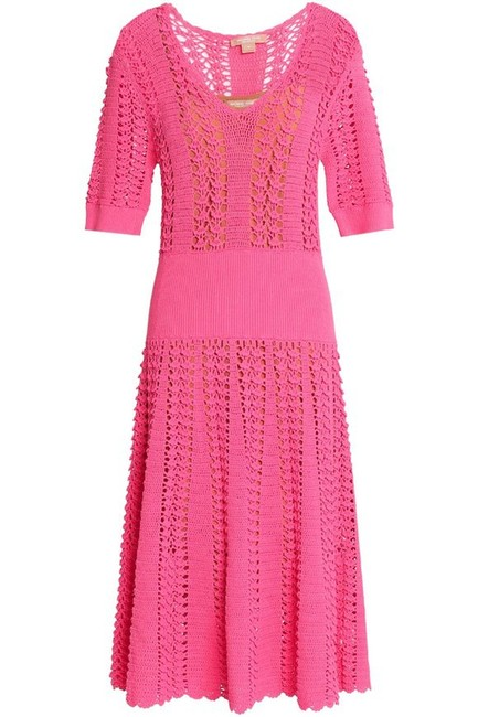 Michael Kors Collection Pink Fluted Crocheted Mid-length Casual Maxi Dress Size 12 (L) Michael Kors Collection Pink Fluted Crocheted Mid-length Casual Maxi Dress Size 12 (L) Image 8