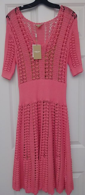Michael Kors Collection Pink Fluted Crocheted Mid-length Casual Maxi Dress Size 12 (L) Michael Kors Collection Pink Fluted Crocheted Mid-length Casual Maxi Dress Size 12 (L) Image 10