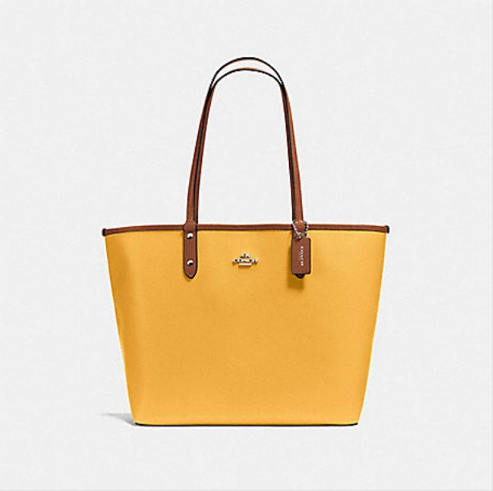 d01b8d90bc Coach City Reversible In Denim Signature F 58293 36658 Brown Yellow Canvas  Tote