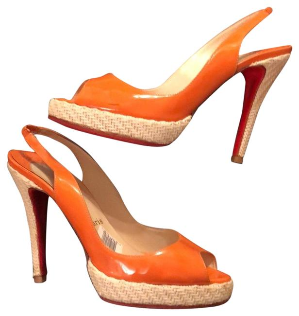 Item - Orange Patent Zeppa Sling Platforms Size EU 38.5 (Approx. US 8.5) Narrow (Aa, N)