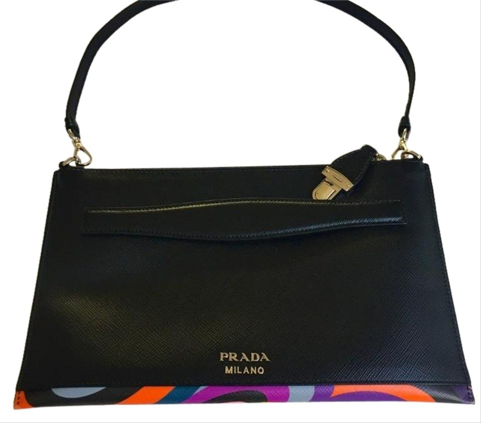 in vendita 3b3ed 7ab66 Prada Pochette Lipstick Print Black Saffiano Leather Clutch 47% off retail