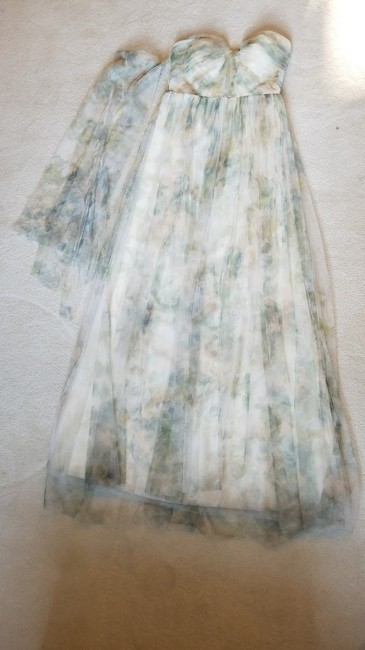 Item - Ivory Sage Rose Print Chiffon 'nyla' Convertible Strapless Gown Formal Bridesmaid/Mob Dress Size 4 (S)