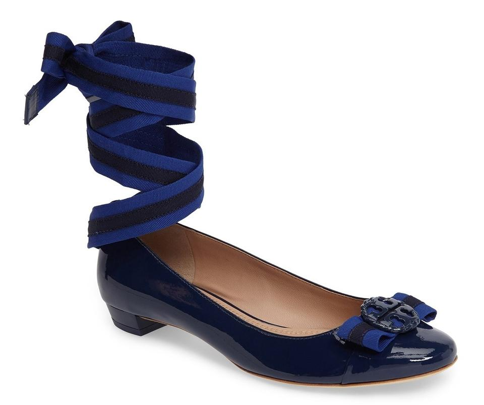 dff3546ffb3 Tory Burch Blue Patent Maritime Ankle Wrap Logo Bow Flats. Size  US 10.5  Regular ...