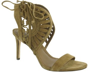 53c7c2486811 Tory Burch Suede Laser Cut Detail Strap Bands Lace-up Side Imported Beige  Sandals