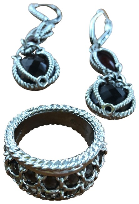 Item - Sterling Brown and Red Ring Set Earrings