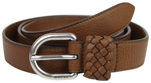 Gucci Brown Leather Wrap Belt with Orval Buckle 95/38 336828 2535