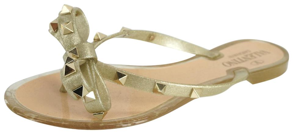 11186ff37a9b8f Valentino Gold Metallic Glitter Rubber Jelly Bow Pvc Thong Flip Flop Sandals