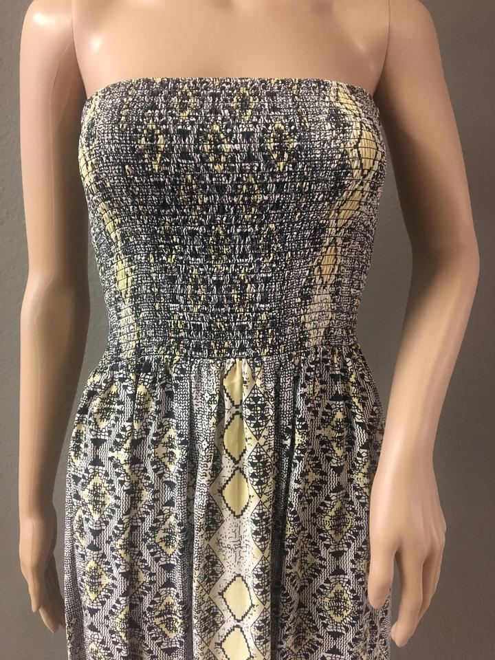 3d4d36433a6 Yellow Black White Maxi Dress by Parker Strapless Pure Silk Sundress Aztec  Print Snakeskin. 1234567891011