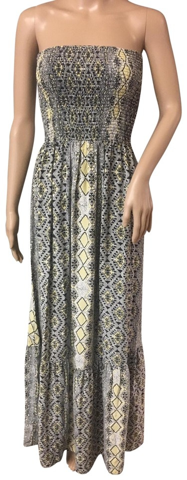 7418a145bb5 Yellow Black White Maxi Dress by Parker Strapless Pure Silk Sundress Aztec  Print Snakeskin ...