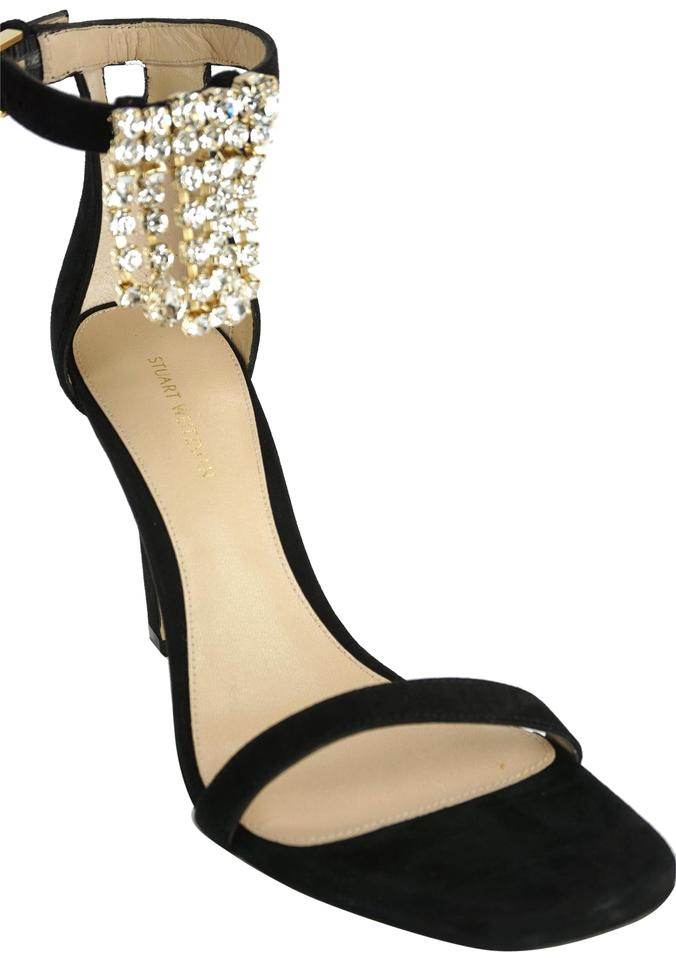 f0cb4ea54f Stuart Weitzman Strappy Classic Formal Party Crystal Black Sandals Image 0  ...