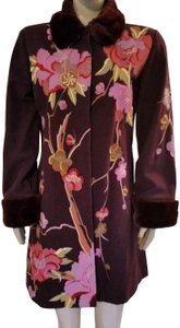 Anthropologie Rare Fei Faux Fur Embroidered Floral Pea Coat