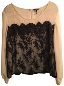 Daisy Fuentes Elegant Lace Sheer Top Peach and Black