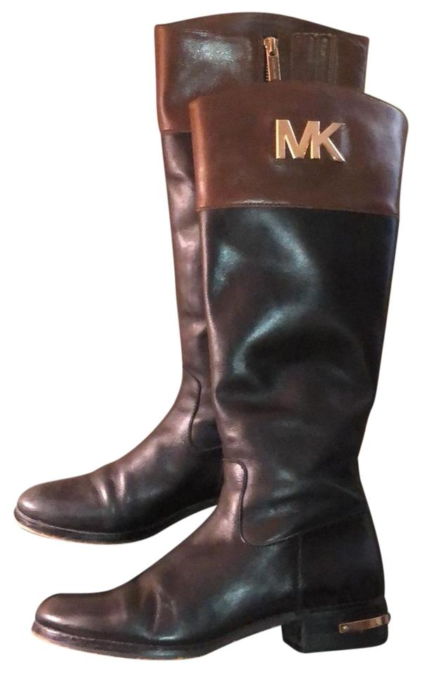 48bc3766f890 Michael Kors Black   Brown Mk Two Toned Riding Boots Booties Size US ...