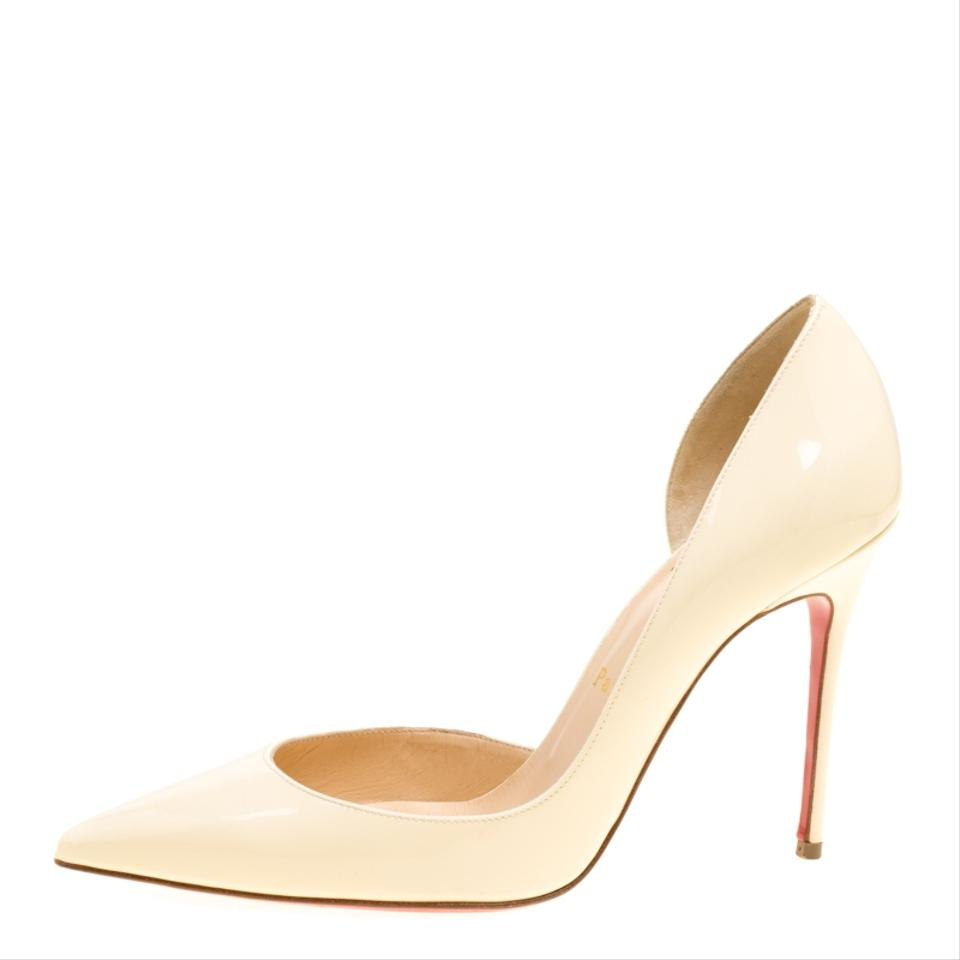 8236c12d0 Christian Louboutin Cream Patent Leather Iriza D'orsay Pointed Pumps ...
