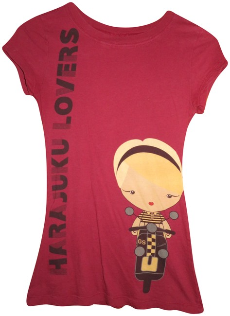 Item - Maroon Gwen On A Motorcycle Tee Shirt Size 4 (S)
