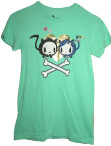 Tokidoki Cats Bones Skeleton Cute T Shirt Teal