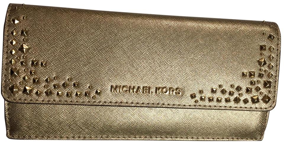 d9125657e8bf2a MICHAEL Michael Kors Gold Clutch Giftables with Studs Flat Slim Leather  Wallet