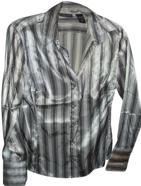 Item - Gray and Black Satin Finish White Striped Collar Button-down Top Size 2 (XS)