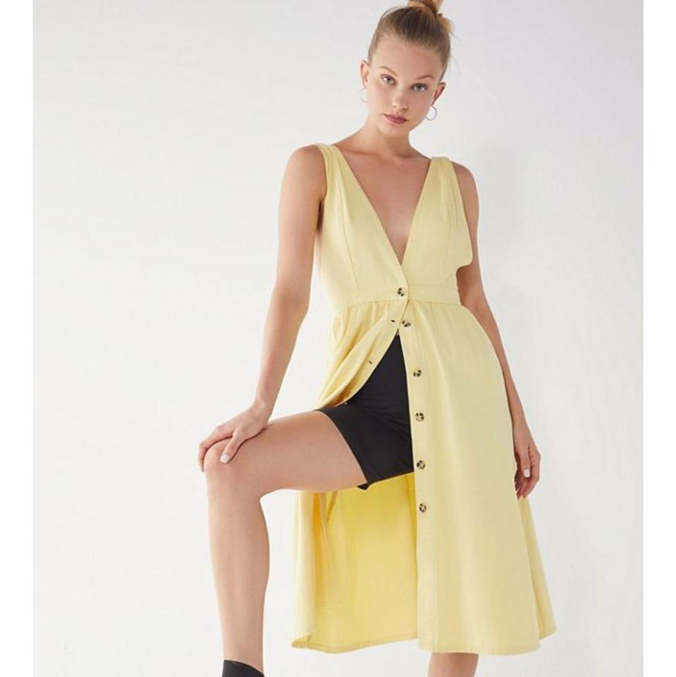 2c50ee913f2 Urban Outfitters Yellow Uo Danny Plunging Button-down Denim Midi Mid ...