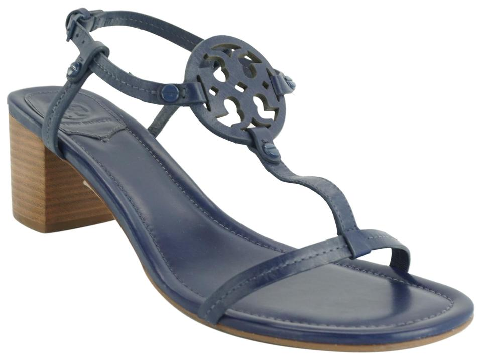 864272f6707 Tory Burch Blue Leather Miller 55mm Logo Thong Block Sandals Size US ...