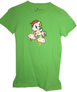 Tokidoki Rainbow Unicorn Clouds Cute T Shirt Green